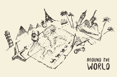 popular: Concept illustration of traveling around the world, hand drawn, sketch Illustration