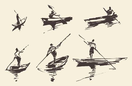 Mens op boot, hand getrokken vectorillustratie. Stock Illustratie