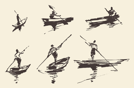 Man on boat, hand drawn vector illustration. Stock Illustratie