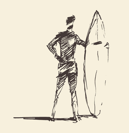 Drawn vector young man beach surfboard sketch Ilustração