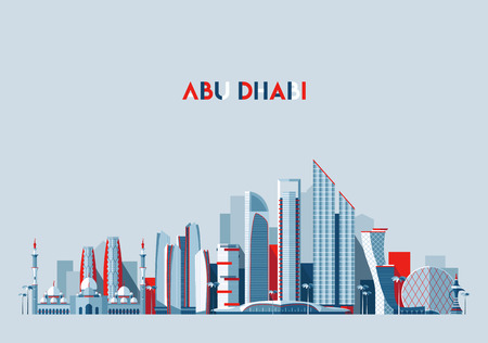 Abu Dhabi skyline Arab Emirates vector flat design