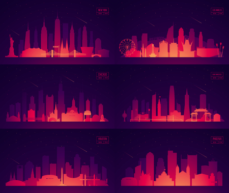Set North American cities New York Chicago Illustration