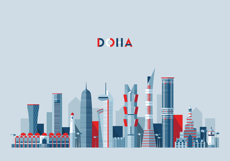 Doha skyline Qatar vector illustration flat design