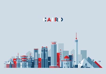 Cairo skyline Egypt illustration flat design Illusztráció