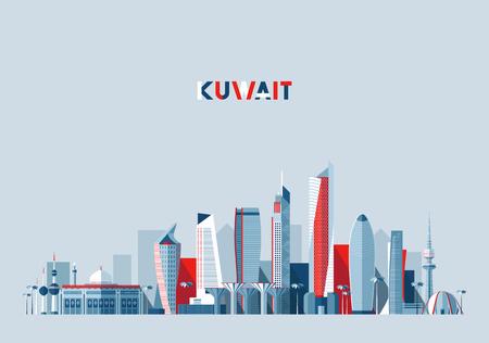 Kuwait city skyline, vector illustration, flat Stock Illustratie