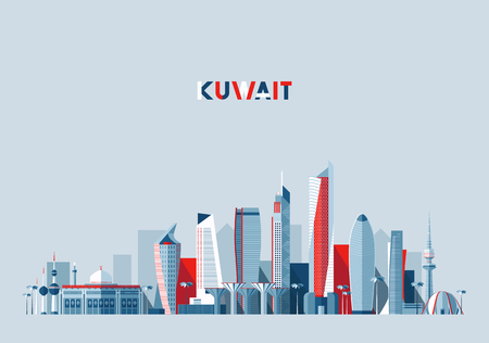 Kuwait city skyline, vector illustration, flat Çizim