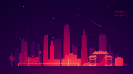 San Francisco skyline building illustration 向量圖像