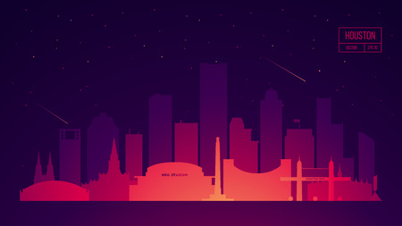 Houston skyline with its most notable buildings, detailed vector illustration Illustration