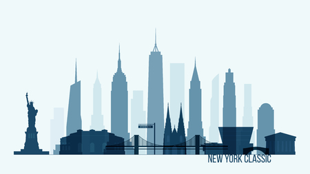 New York skyline with its most notable buildings, detailed vector illustration