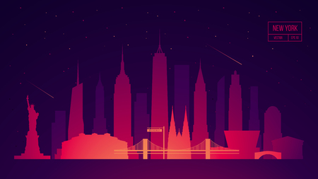New York skyline building vector illustration city