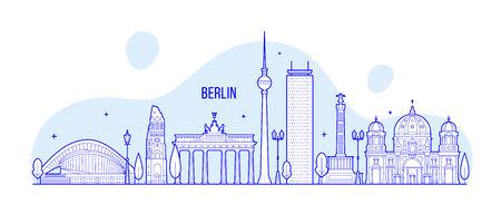 Berlin skyline Germany city buildings vector Illustration