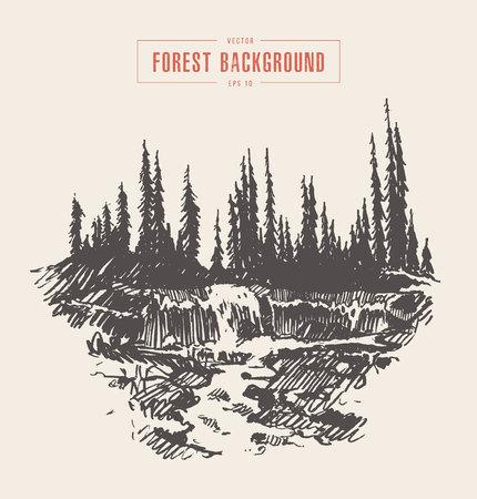 Illustration vintage d'une cascade de belle rivière dans une forêt de sapins, dessinés à la main, croquis.