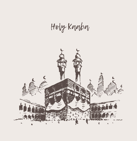 Holy Kaaba Mecca Saudi Arabia muslim drawn sketch