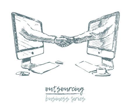 Business concept outsourcing handshake vector Illustration