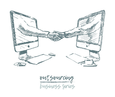 Business concept outsourcing handshake vector Illustration