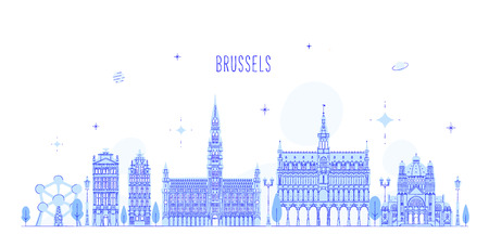Brussel skyline, Belgium. This vector illustration represents the city with its most notable buildings. Vector is fully editable, every object is holistic and movable. Ilustração