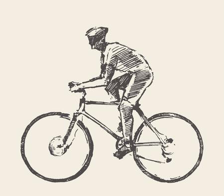 Drawn bicyclist rider man vector sketch bicycle