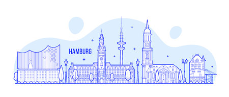 Hamburg skyline Germany city buildings Vector illustration.
