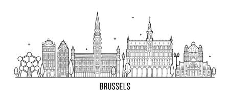 Brussel skyline België vector stadsgebouwen Vector Illustratie