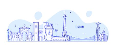 Lisbon skyline, Portugal city buildings vector  イラスト・ベクター素材