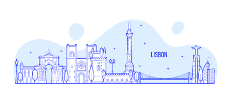 Lisbon skyline, Portugal city buildings vector 矢量图像