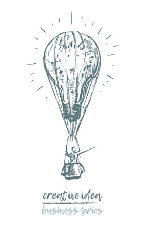 Business concept, creative idea, idea-flying businessman, vector illustration sketch Illustration