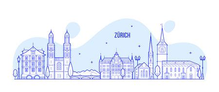 Zürich skyline Zwitserland stad gebouwen Vector illustratie.