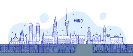 Munich skyline, Germany city buildings vector