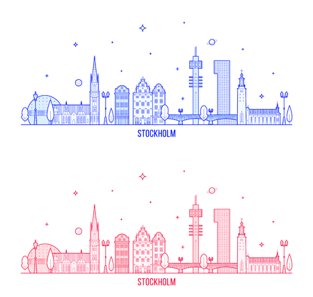 Stockholm skyline, Sweden. This illustration represents the city with its most notable buildings. Vector is fully editable, every object is holistic and movable Ilustrace
