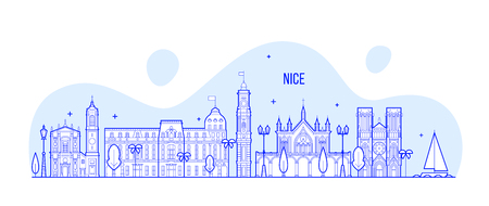 Nice skyline, France city buildings vector