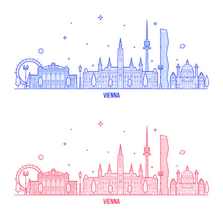 Vienna skyline, Austria. This illustration represents the city with its most notable buildings. Vector is fully editable, every object is holistic and movable