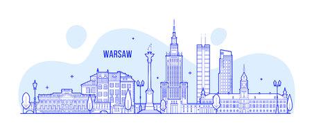 바르샤바 스카이 라인 폴란드 도시 건물 벡터