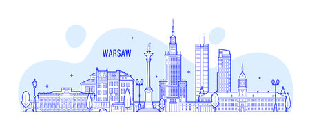 Varsavia skyline Polonia città edifici vettore