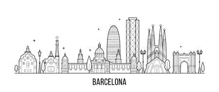 Barcelona skyline Spain city buildings vector