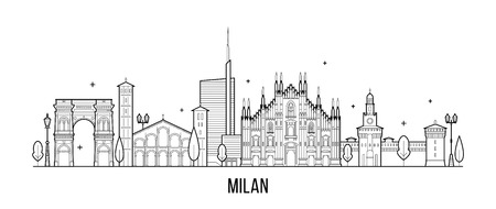 Milan skyline, Italy. This illustration represents the city with its most notable buildings. Vector is fully editable, every object is holistic and movable Stockfoto - 114757102