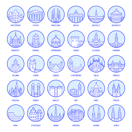 Big collection of badges of European cities, high detailed vector illustration Imagens - 105385180