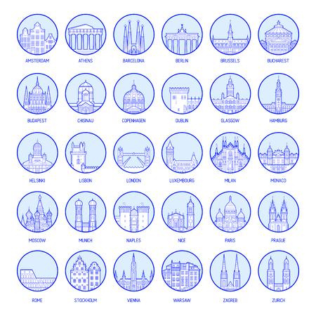 Große Sammlung von Abzeichen europäischer Städte, hochdetaillierte Vektorillustration