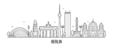 Berlin skyline, Germany. This vector illustration represents the city with its most notable buildings. Vector is fully editable, every object is holistic and movable