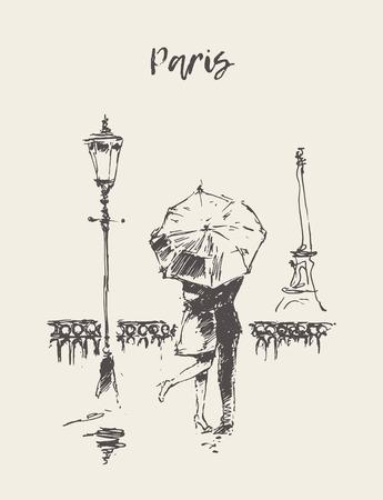Una pareja amorosa bajo el paraguas bajo la lluvia en París, Ilustración de vector dibujado a mano, bosquejo