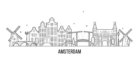 Amsterdam skyline, Netherlands. This vector illustration represents the city with its most notable buildings. Vector is fully editable, every object is holistic and movable