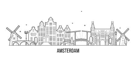 Horizonte de Amsterdam, Países Bajos. Esta ilustración vectorial representa la ciudad con sus edificios más notables. El vector es completamente editable, cada objeto es holístico y móvil