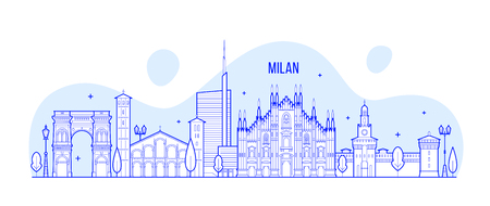 Milan skyline, Italy. This illustration represents the city with its most notable buildings. Vector is fully editable, every object is holistic and movable