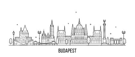 Vector de edificios de la ciudad de Hungría horizonte de Budapest Ilustración de vector