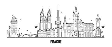 Prague skyline, Czech Republic. This illustration represents the city with its most notable buildings. Vector is fully editable, every object is holistic and movable