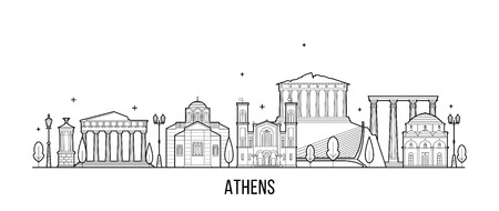 Athener Skyline Greecevector Stadtgebäude