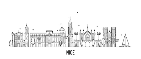 Nice skyline France buildings vector city