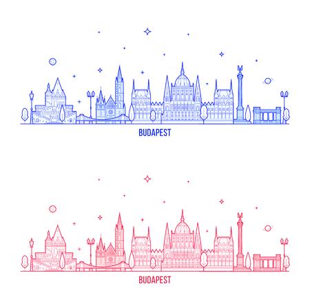 Budapest skyline Hungary city buildings vector