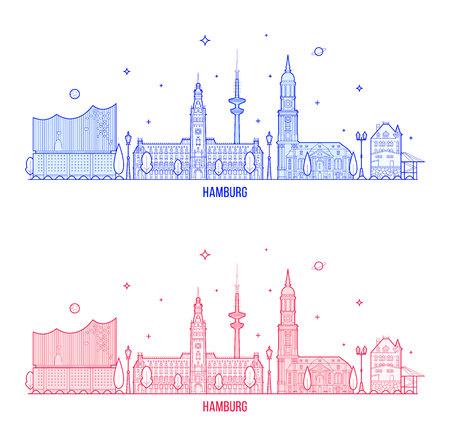 Hamburg skyline Germany city buildings vector