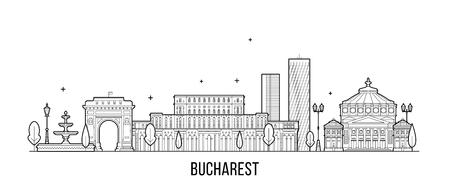 Vector de edificios de la ciudad de Bucarest skyline Rumania Ilustración de vector