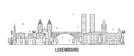 Luxembourg city skyline city buildings vector